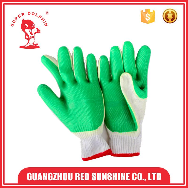 Green Rubber coated palm cotton knitted safety gloves