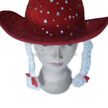 MCH-2137 Party Carnival cheap women red floppy hat wide brim fedora felt hat with white dot and braids