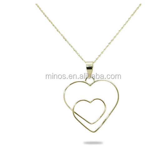 Wholesale Womens Cheap 14k Yellow Gold Open Heart to Heart Necklace for Beautiful Girlfriend