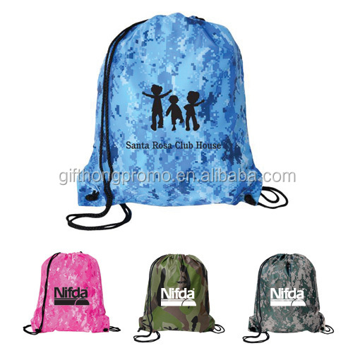 Full color sublimation printing all over Customized logo printed drawstring bag with sling rope for trade fair