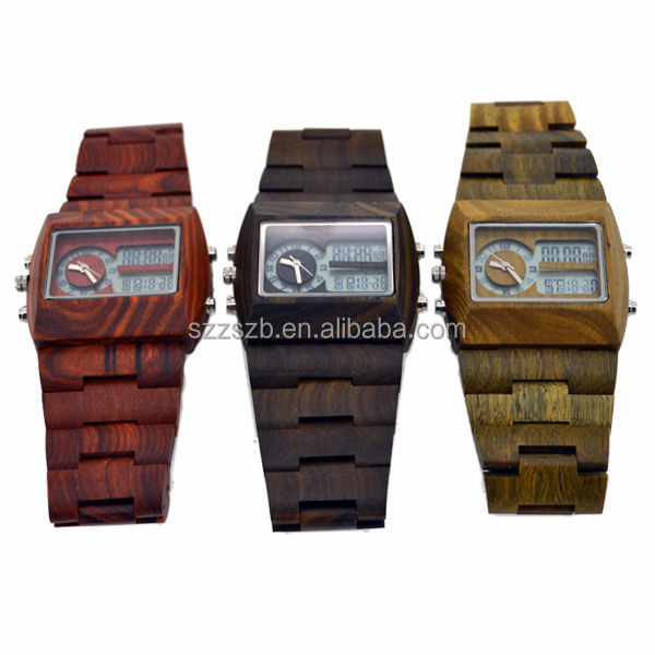 2017 Luxury vogue mens wood watch both have digital quartz movement wooden watches with time/date/calendar/timming function