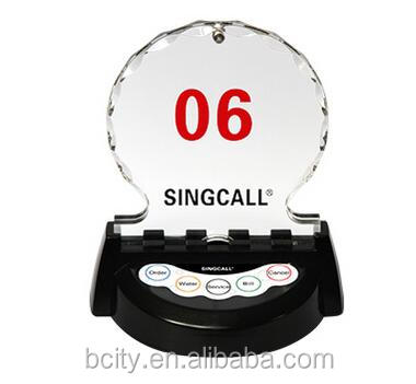 wireless calling system with menu holder for customer calling waiter in VIP room or 4S shop