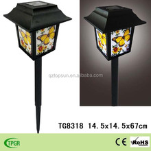 Cheap chinese style solar lamp plastic crafts solar stake light for garden decoration