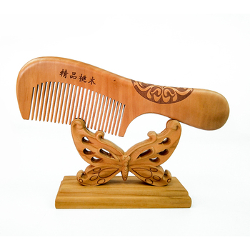 Chinese custom wooden mens wide teeth flat comb for beard and hair