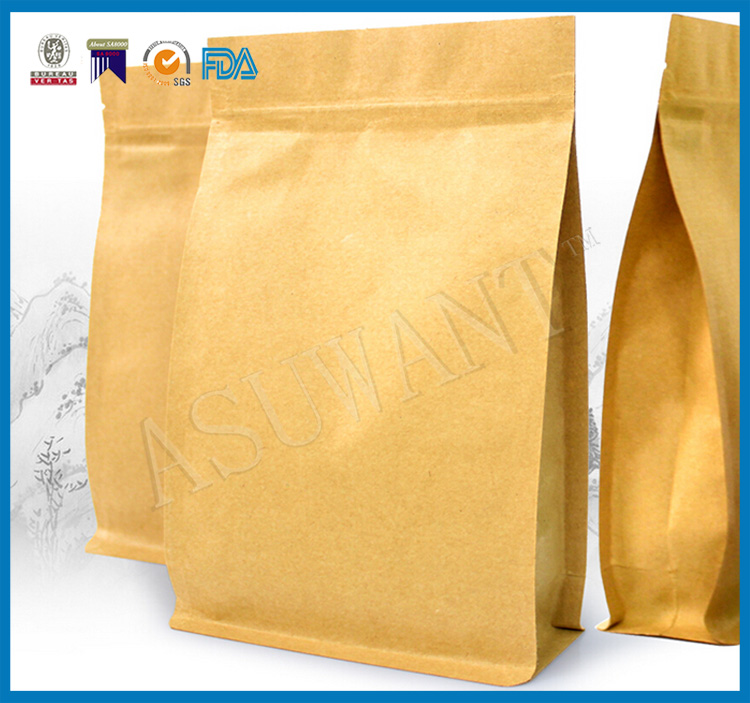 2016 china wholesale food plastic multi-color kraft paper gift bag for food ,coffee,tea,snack