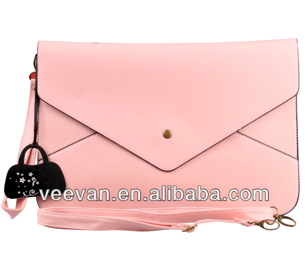2015Fashion style cute pink color pu material leather wallet