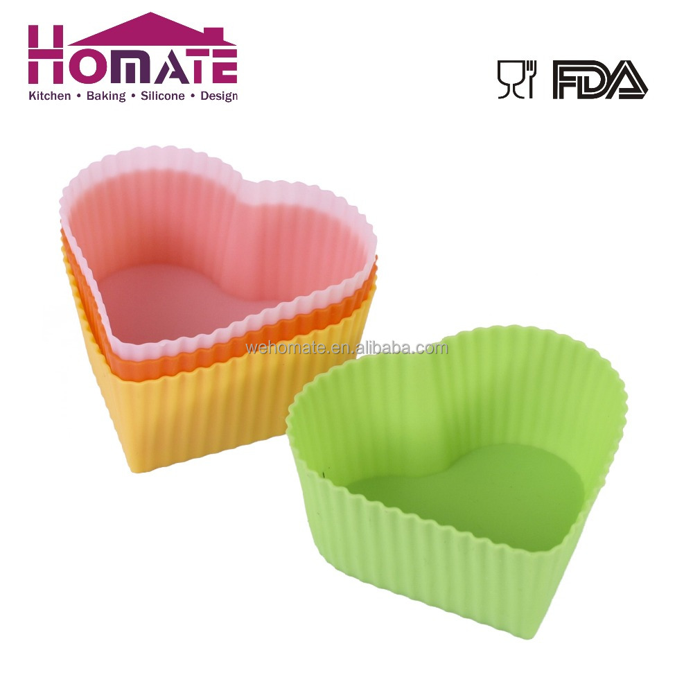 6pcs Eco-friendly Heart Shaped Cake Mould LFGB&FDA Silicone Cup Cake Muffin Cases(Set of 6 pcs)