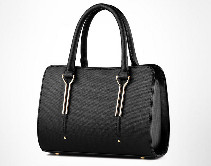 simple design free pattern black color pu leather women fashion handbag
