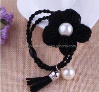 Latest hotselling elegant rose flower beaded elastic ponytail holders bulk hair accessories with tassel