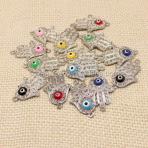 Silver Fatima Hand Oil Drip Evil Eye Beads Pendant Rhinestone Crystal Turkish Lucky Eye Pendant