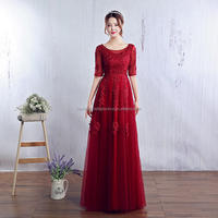 2018 Real Maid of Honor Beaded New Cheap Half Sleeve Long Red Lace Bridesmaid Dress MB1052