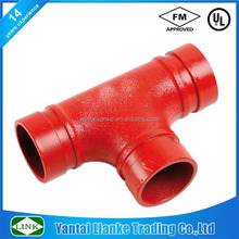 FM/UL approved fire fighting ductile iron grooved Tee pipe fitting