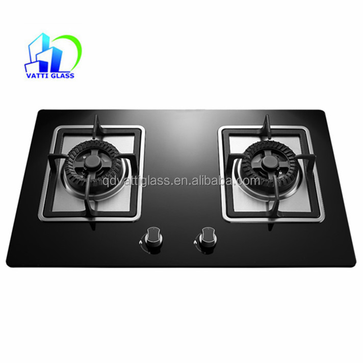 2 burners cooker hood tempered glass gas stove