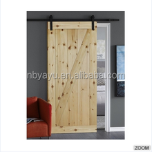 Interior One Panel Z Brace Knotty Pine Stained Solid Wood Barn Door with Hardware