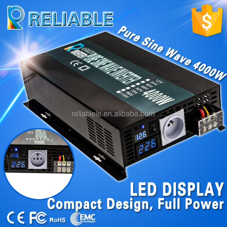 China Manufacturer, CE/EMC certified, 4000W Off Grid Pure Sine Wave Inverter Solar/Car/Appliance Power Inverter with LED Display