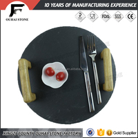 Slate stone cheese board for dinner black color with steel handles modern round plate eco-friendly material