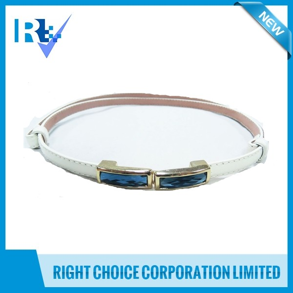 Ladies Adjustable Belt with Stone Buckle