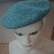 Military Men's Wool Felt Beret Hats with Leather Binding