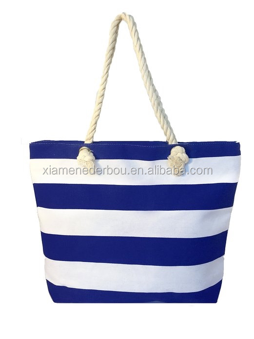 Large Striped Cotton Canvas Beach / Tote Bag, Multiple colors
