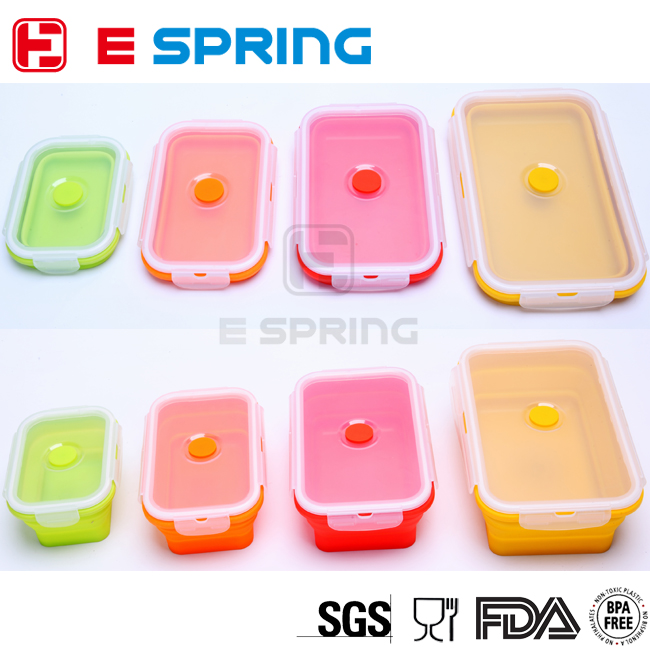 Factory Provide 100% Food Grade Foldable Silicone Lunch Box Food Thermal Container