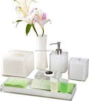 White crystal amenities holder set hotel balfour bathroom accessories
