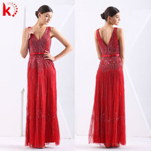 Elegant Spaghetti Beading Ladies Formal Dress Patterns Black And Red Evening Dress