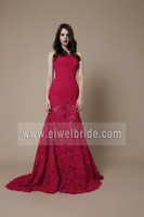 S1874 Amazing strapless sweep train red lace pakistani prom dresses