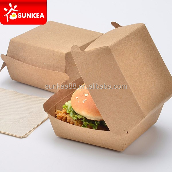 Biodegradable paper clamshell burger packaging box for hamburger