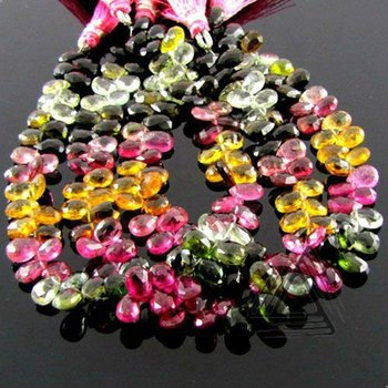 Multi Color Tourmaline Briolette Pear Beads Strand, Wholesale Natural Precious & Semi Precious Stone Beads