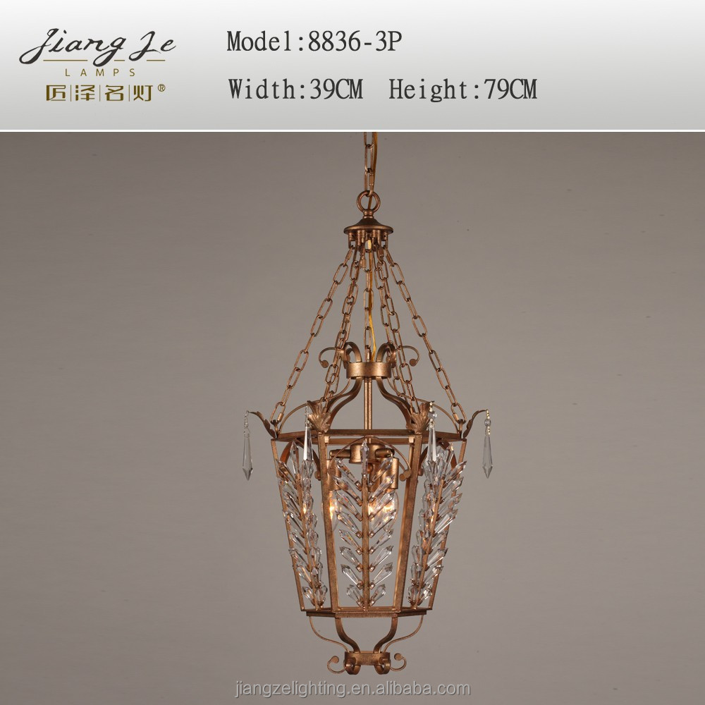 2015 led European new chinese type antique iron crystal chandelier birdcage pendant lighting for study room bedroom villa