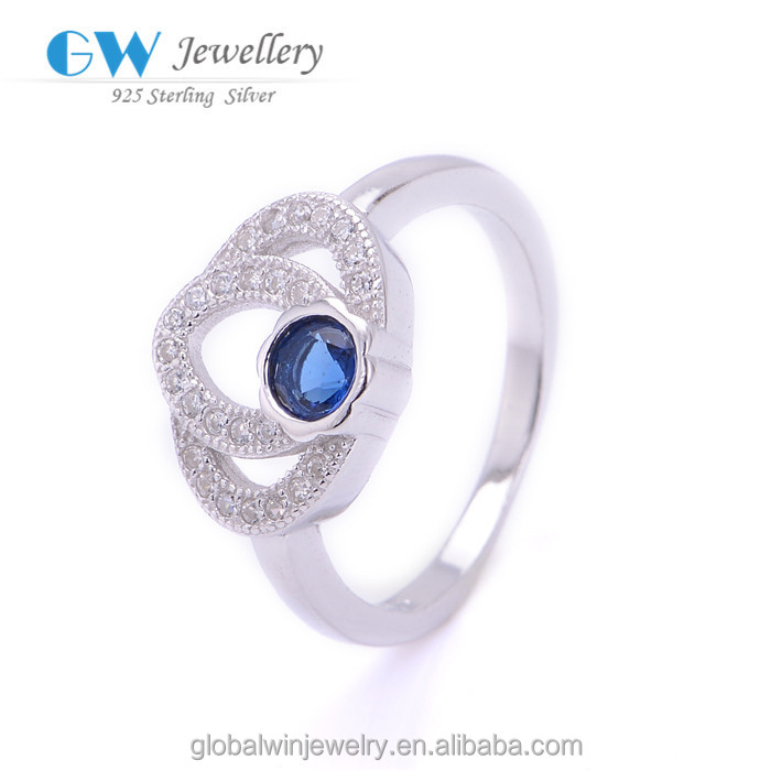 Hot Sale 925 Silver Blue Diamond New Model Ring Cheap Engagement Ring