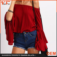 2016 Summer Casual red boat neck off shoulder loose pattern Women Burgundy Bell Sleeve Blouses Tops