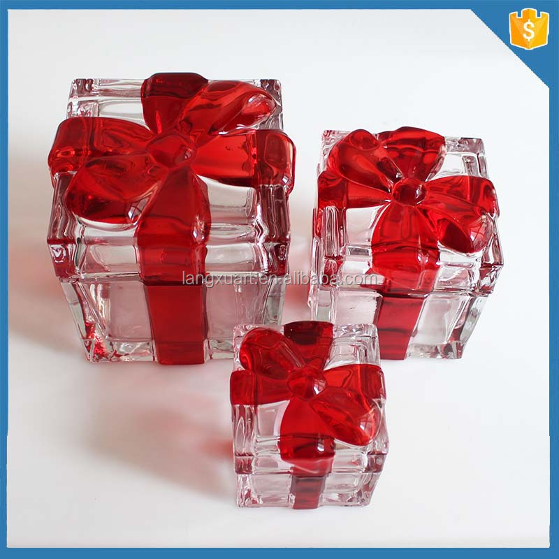beautiful crystal container square bowknot tap glass candy jar