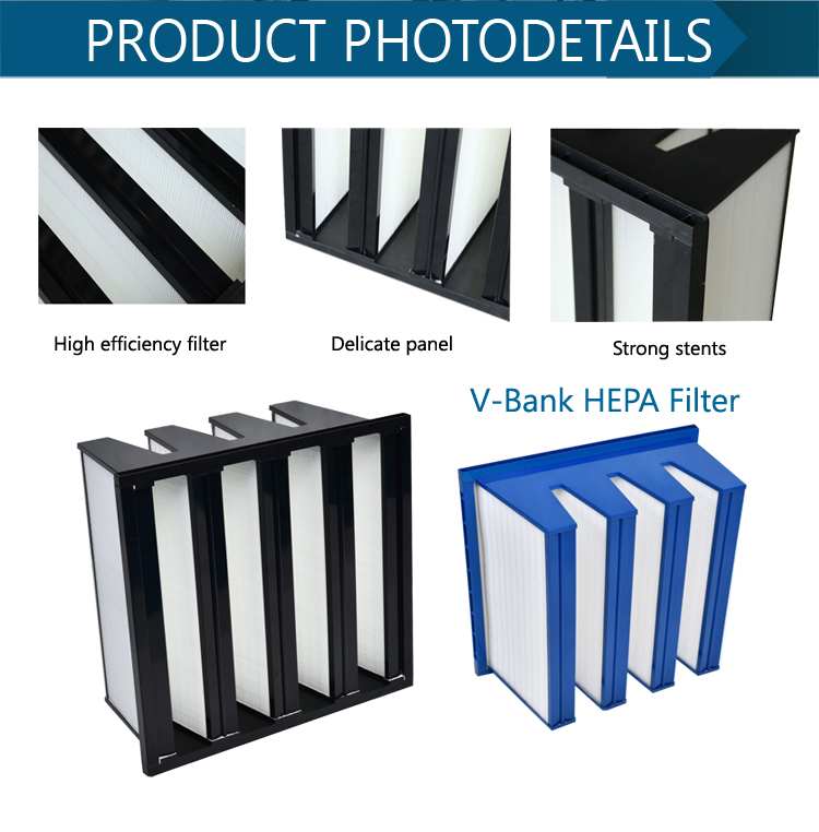 Large dust holding high efficiency deep pleated v-bank h13 v type hepa filter