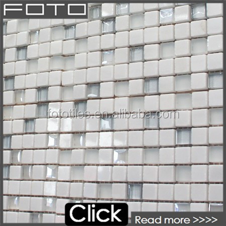 White stone mix glass mosaic backsplash tile for the bathroom and kitchen