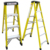 New design double side red color 7 steps multi-purpose ladder fiberglass