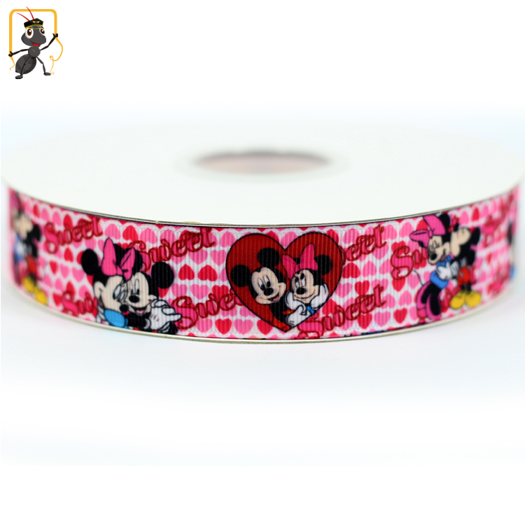 haoxie brand yiwu wholesale love style printed princess pattern thread grosgrain polypropylene ribbon