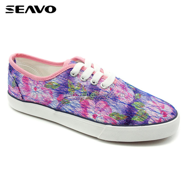 SEAVO SS18 latest flat walkking lace up nice popular flower fabric canvas woman casual shoe