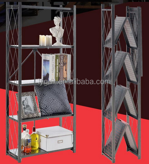 5 Tiers Punching Panel shelvs House Display Foldable Rack with Adjustable <strong>stand</strong> feet