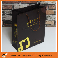 wholesale custom craft paper bag with gold foil stamp logo