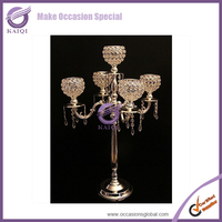 European Fancy Silver Decorative Chrome Glass Candlestick/Candle Holder