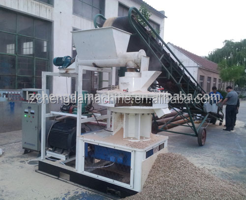 New design 1-1.5T/H vertical ring die fruit shell walnut shell tree bark pellet mill