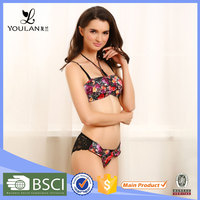 Hot Selling Comfortable Sexy Lady Lace Japanese Girls Sexy Nice Bra Panty & Vest Set