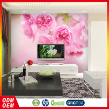 pvc pink flowers Italian vinyl wallpaper for bathroom
