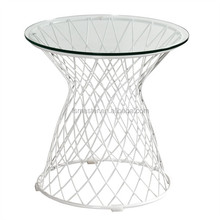 garden tea wire base round top glass coffee table