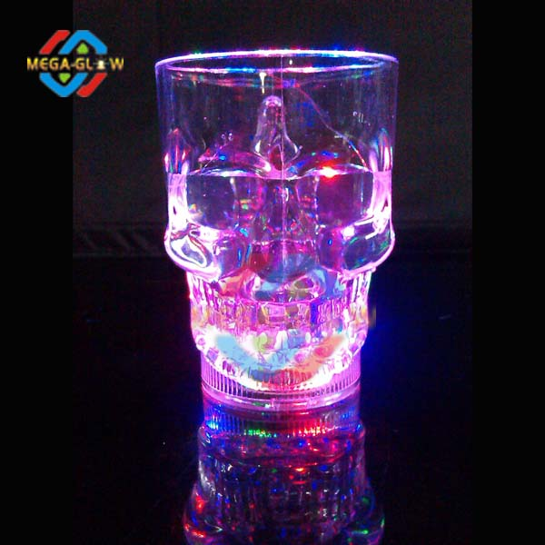 led light up skull glass with flashing light