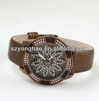 brown leather strap watch bracelet with flower dial