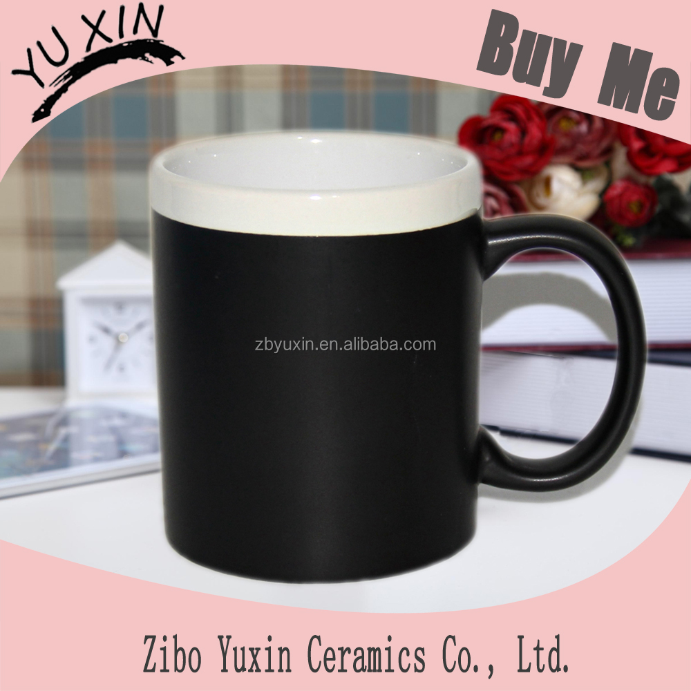 new style black stoneware chalk mug with white rim