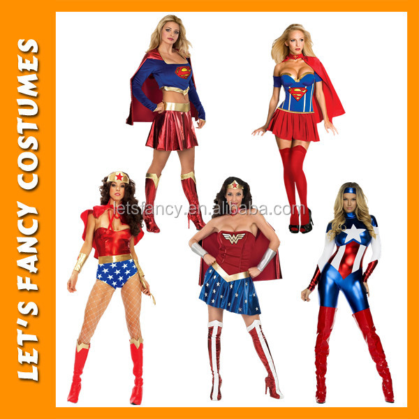 Custom size supergirl christmas fancy dress costumes wholesalers wonder woman sexy costume PGWC0188