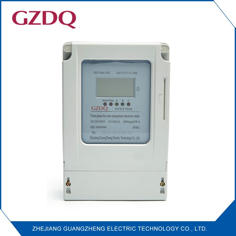 Auto cut-off overload LCD digital display three phase four wire electronic smart prepaid energy meter